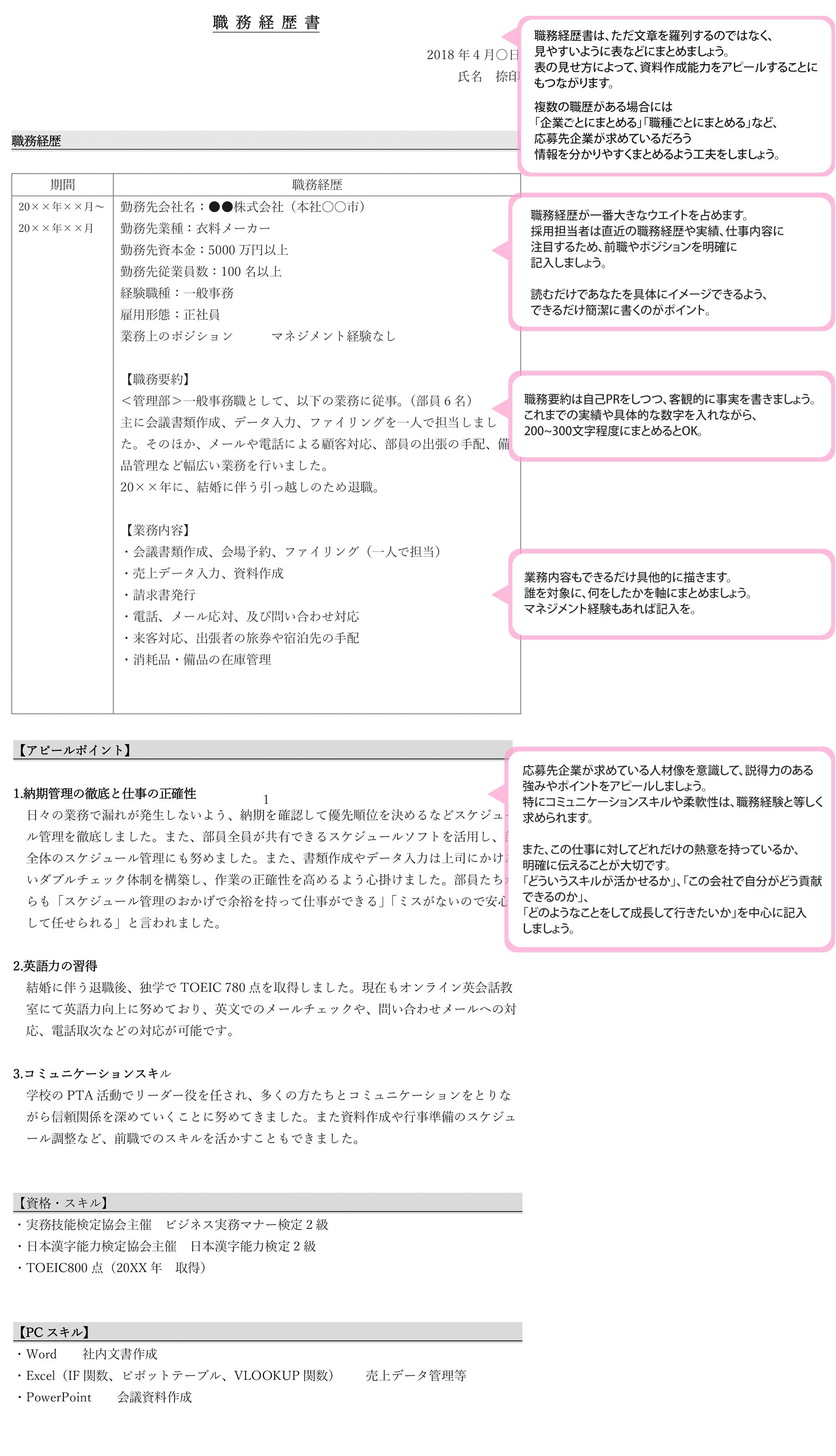 職務経歴書サンプル-1